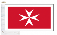 Malta Civil Maltese Cross Ensign Courtesy Boat Flags (Roped and Toggled)